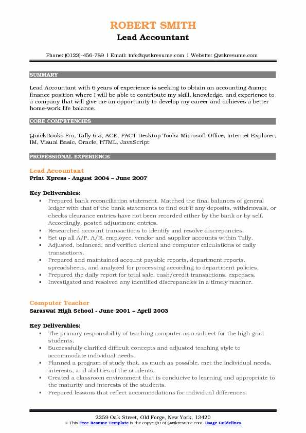 Lead Accountant Resume Template