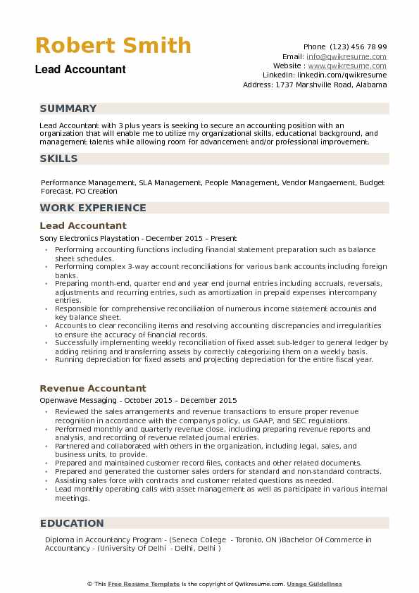 lead accountant resume samples