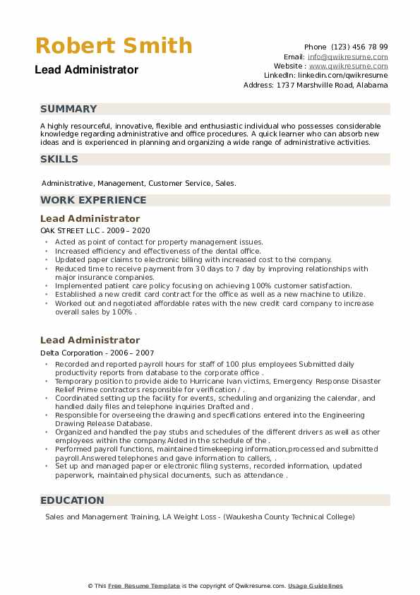 Lead Administrator Resume example