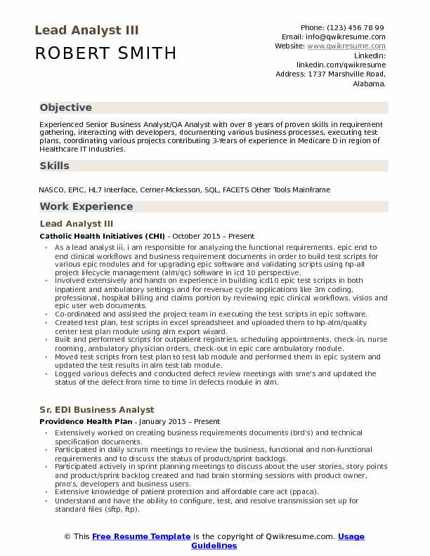 lead analyst resume samples