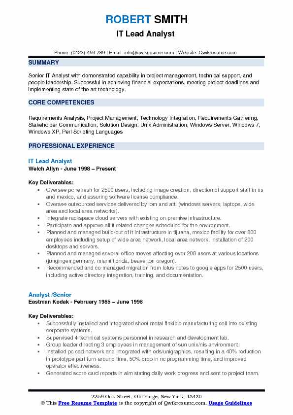 lead analyst resume samples qwikresume