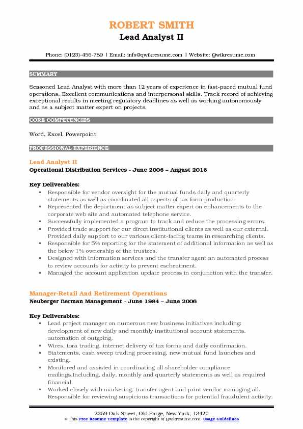 Lead Analyst II Resume Example
