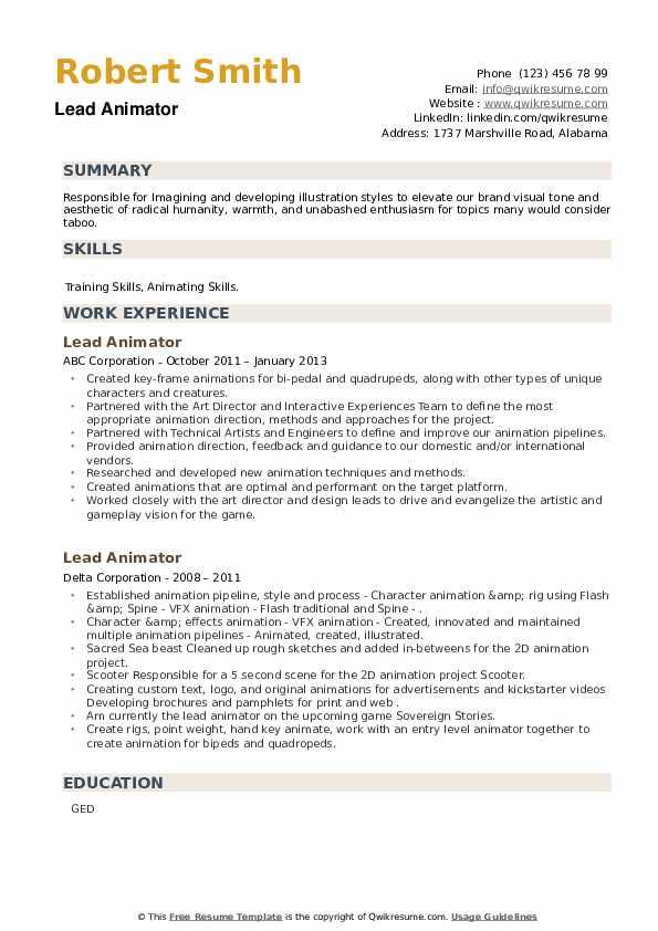 Lead Animator Resume example
