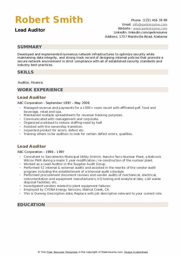Lead Auditor Resume example