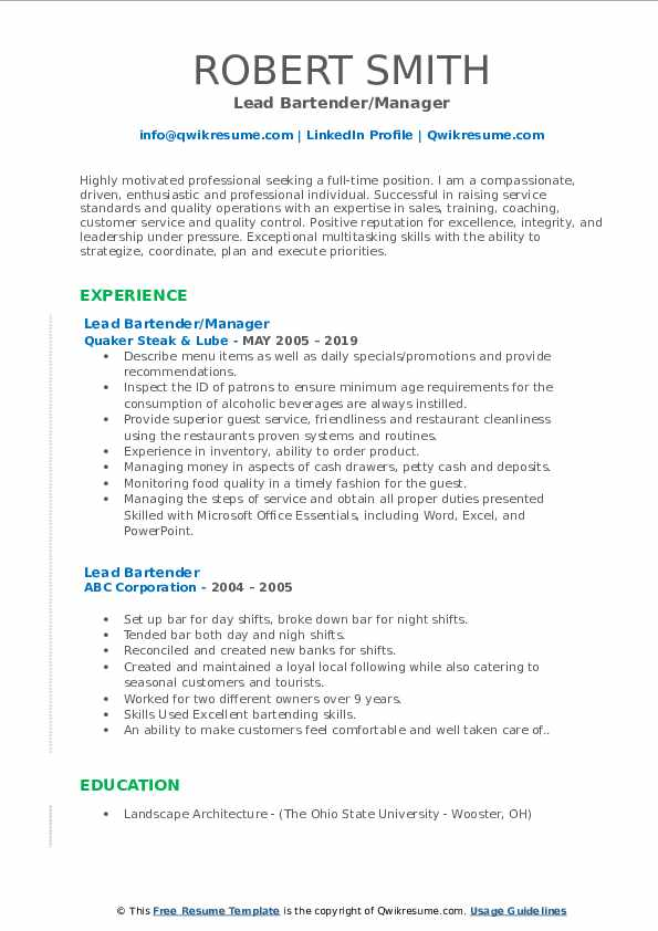 Lead Bartender/Manager Resume Example