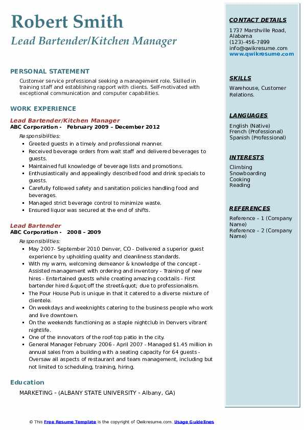 lead bartender resume samples
