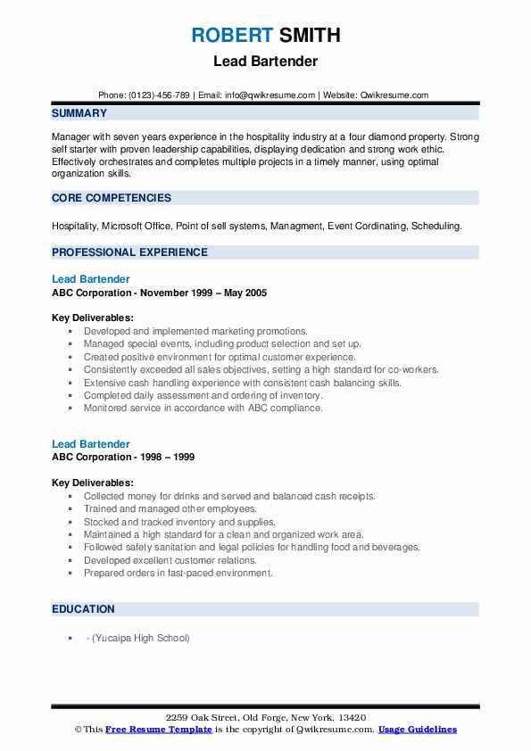Lead Bartender Resume example