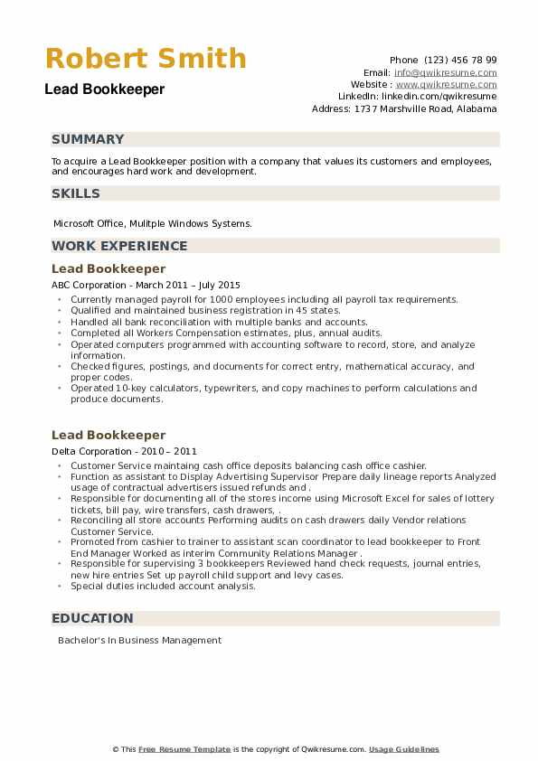 Lead Bookkeeper Resume example