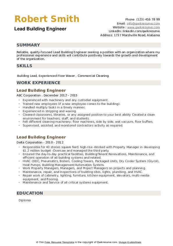 Lead Building Engineer Resume example