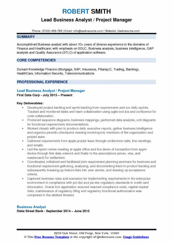 Lead Business Analyst / Project Manager Resume Template