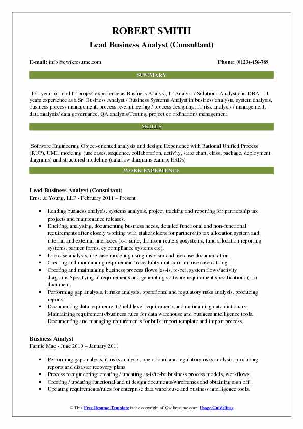 Lead Business Analyst (Consultant) Resume Format