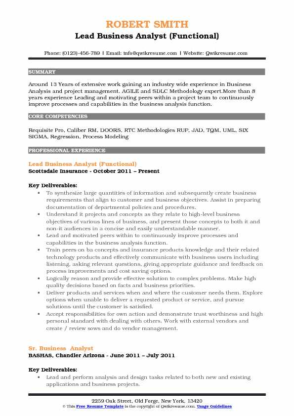 Lead Business Analyst (Functional) Resume Format