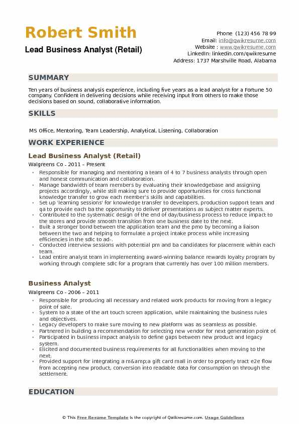 Lead Business Analyst (Retail) Resume Sample