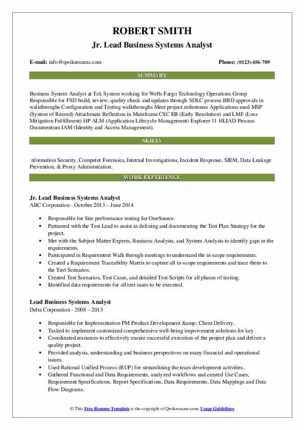 lead business systems analyst resume samples  qwikresume