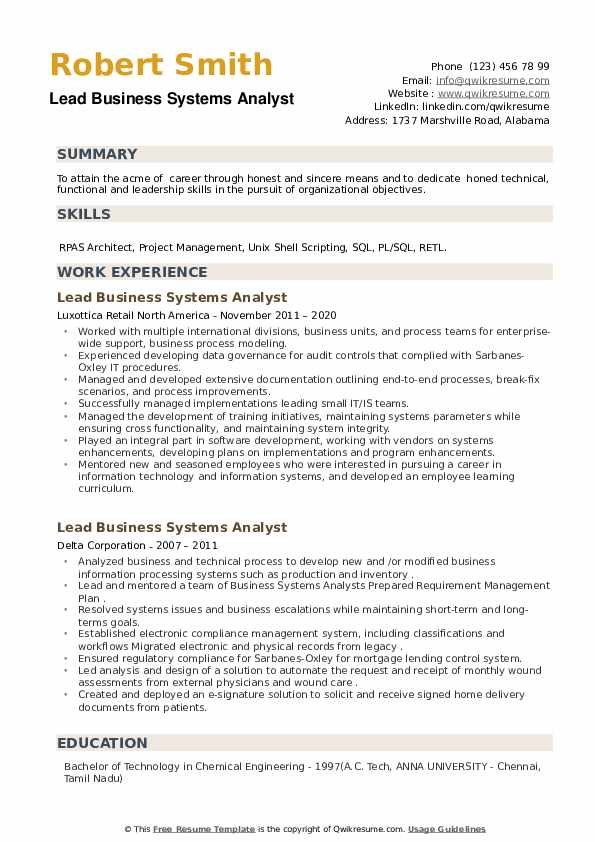 Lead Business Systems Analyst Resume example