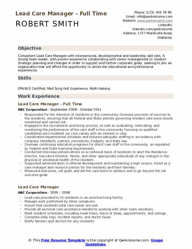 Lead Care Manager Resume Samples Qwikresume