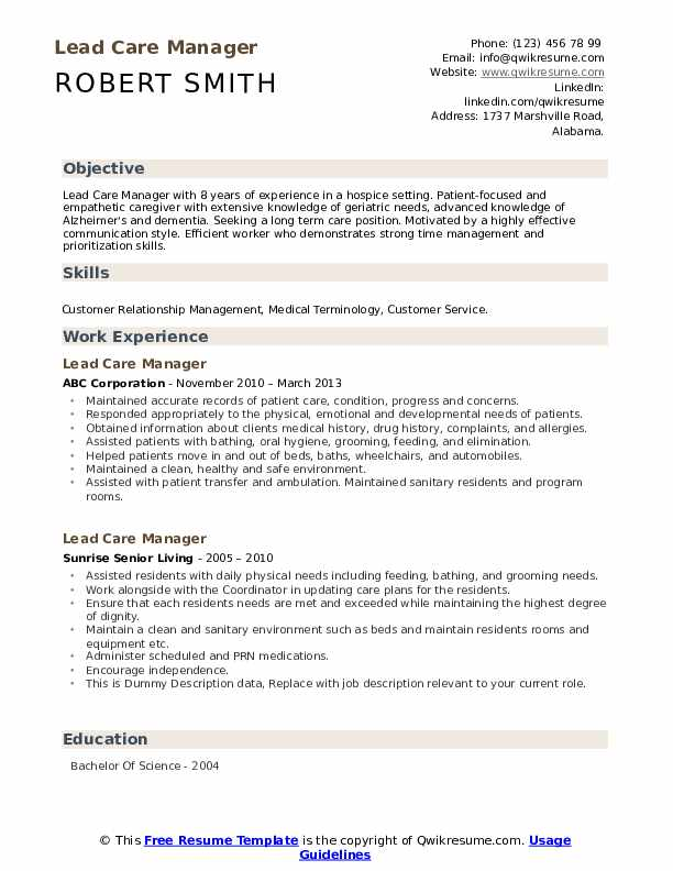 Lead Care Manager Resume example