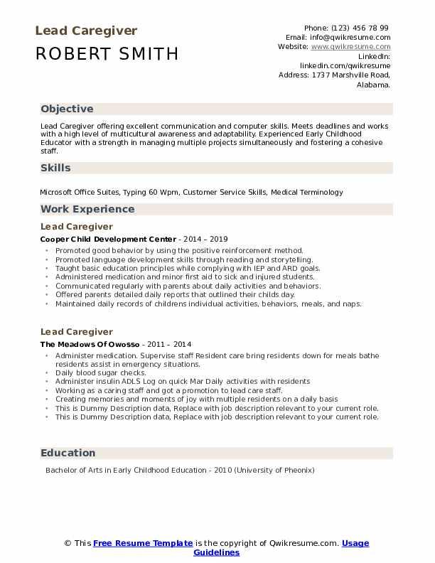 Lead Caregiver Resume example