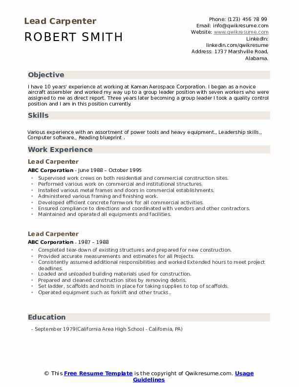 Lead Carpenter Resume Example