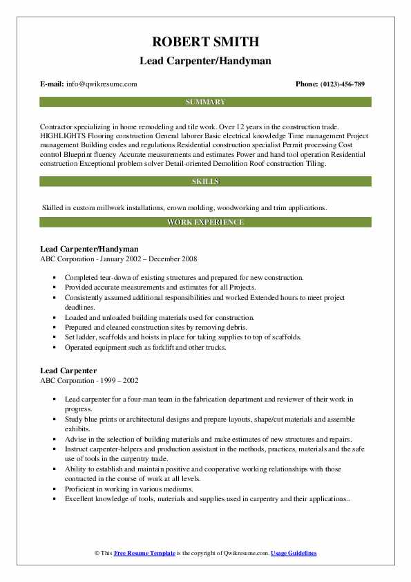 Lead Carpenter/Handyman Resume Template