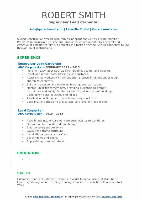 Supervisor Lead Carpenter Resume Example