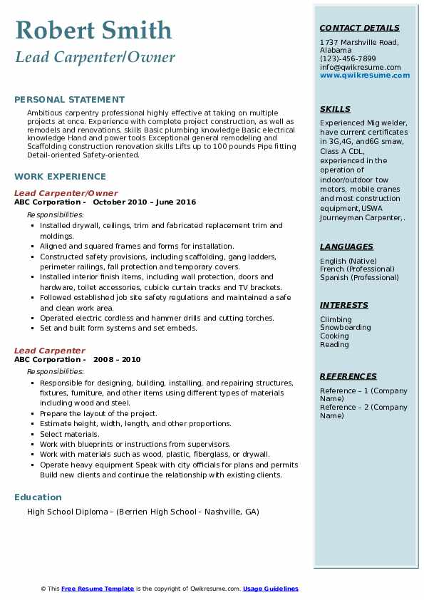 Lead Carpenter/Owner Resume Template