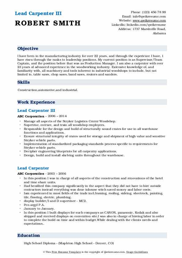 Lead Carpenter III Resume Format