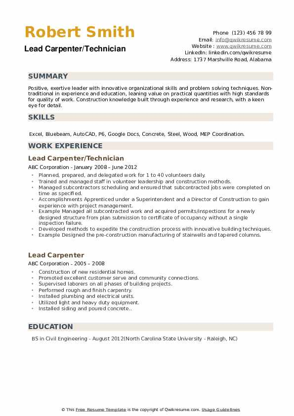 Lead Carpenter/Technician Resume Format