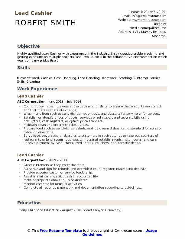 Lead Cashier Resume Template