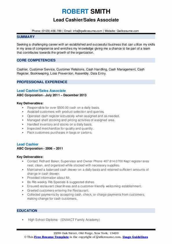 Lead Cashier/Sales Associate Resume Example