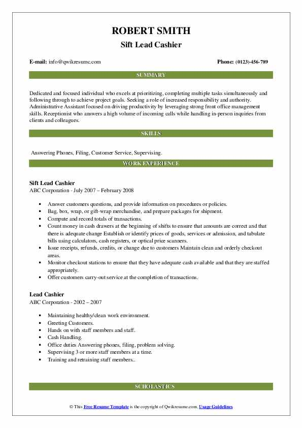 Sift Lead Cashier Resume Template