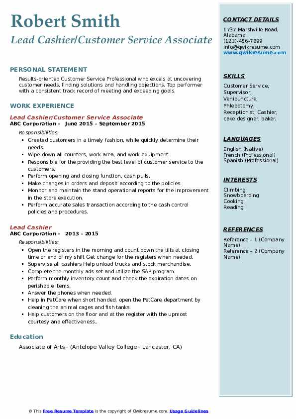 Lead Cashier Resume Sample