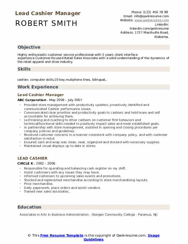 Lead Cashier Manager Resume Model