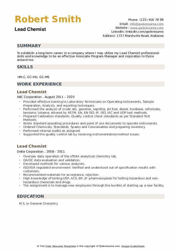 Lead Chemist Resume example