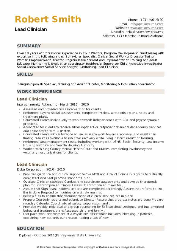 Lead Clinician Resume example