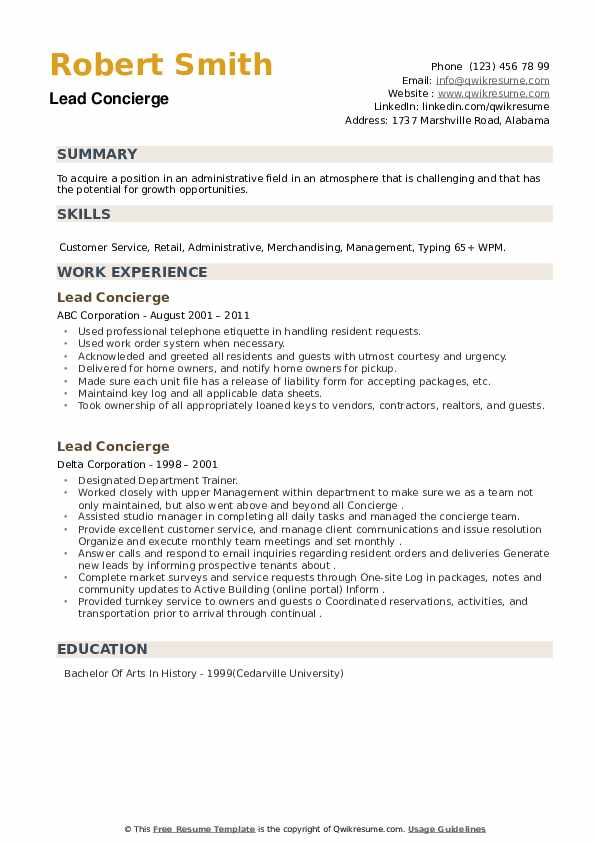 Lead Concierge Resume example