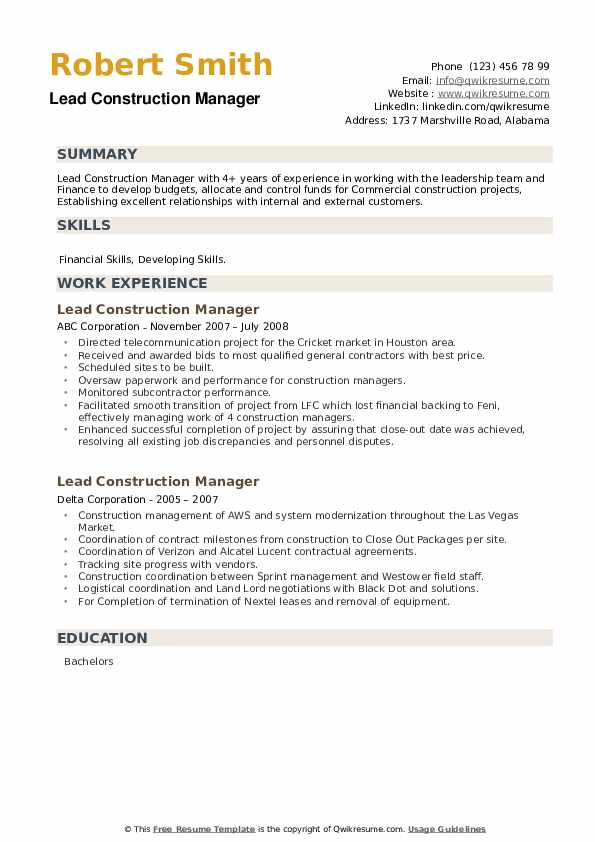 Lead Construction Manager Resume example