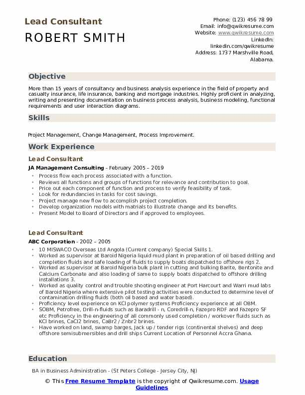 Lead Consultant Resume Template