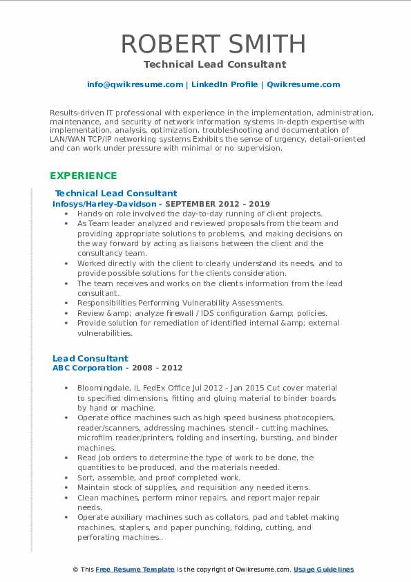 Technical Lead Consultant Resume Example
