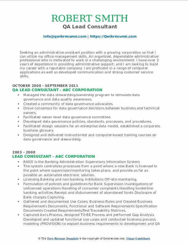 QA Lead Consultant Resume Format