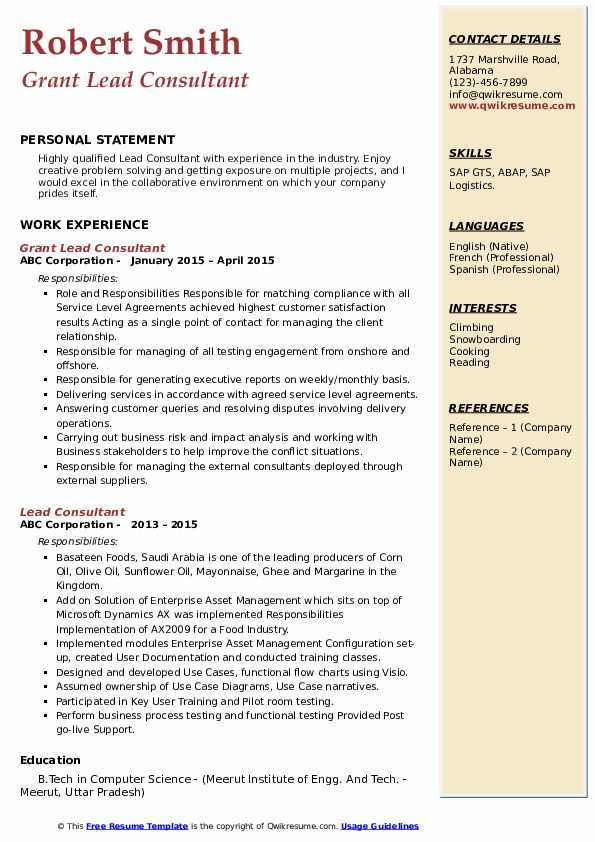 Grant Lead Consultant Resume Model