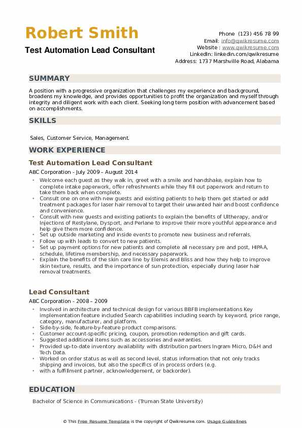 Test Automation Lead Consultant Resume Format