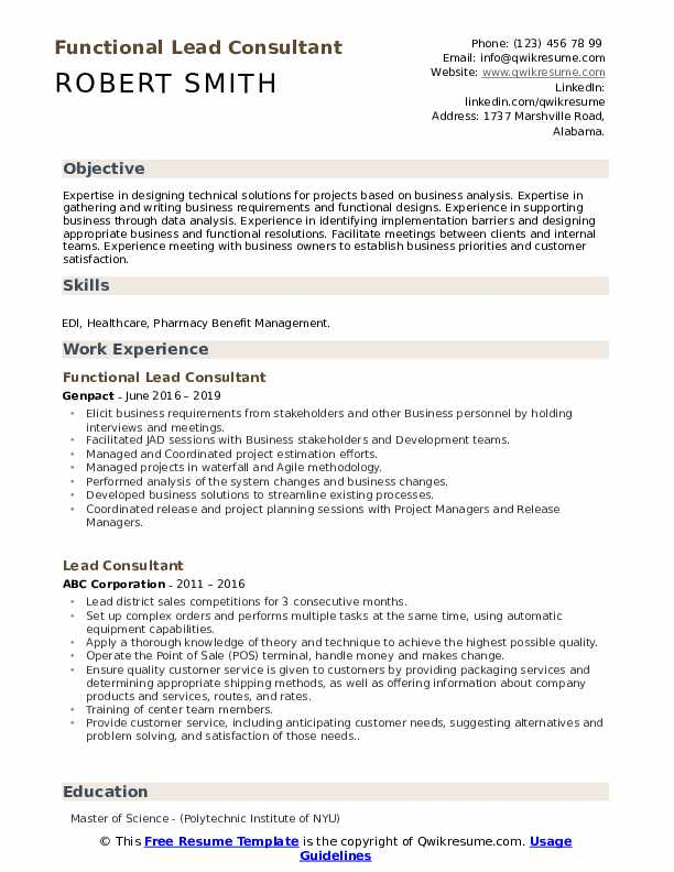 Functional Lead Consultant Resume Sample