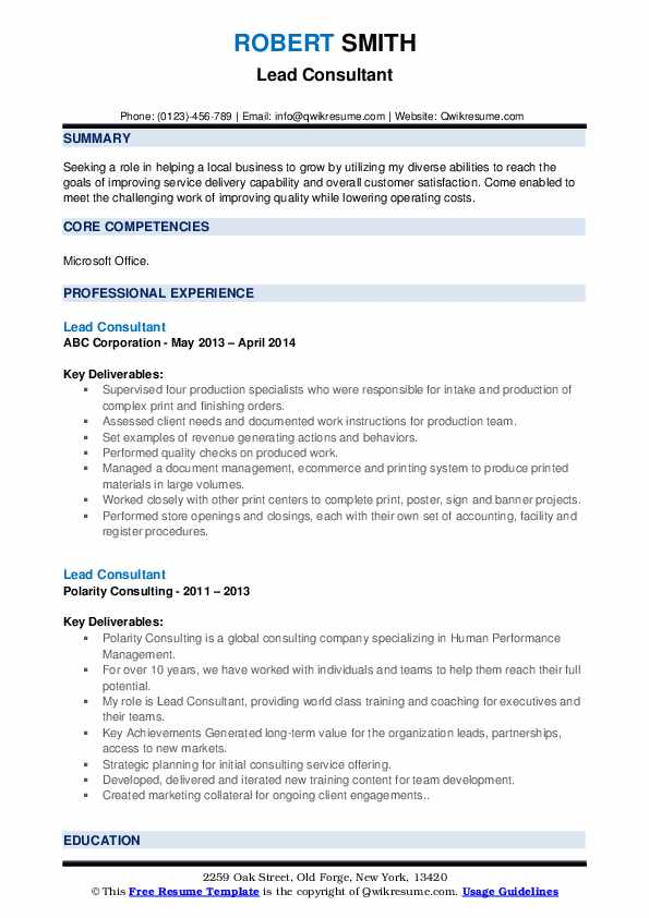 Lead Consultant Resume Samples Qwikresume