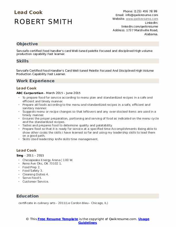 Lead Cook Resume Template