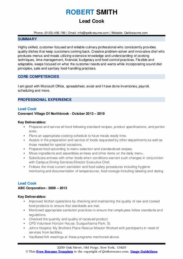 Lead Cook Resume Sample