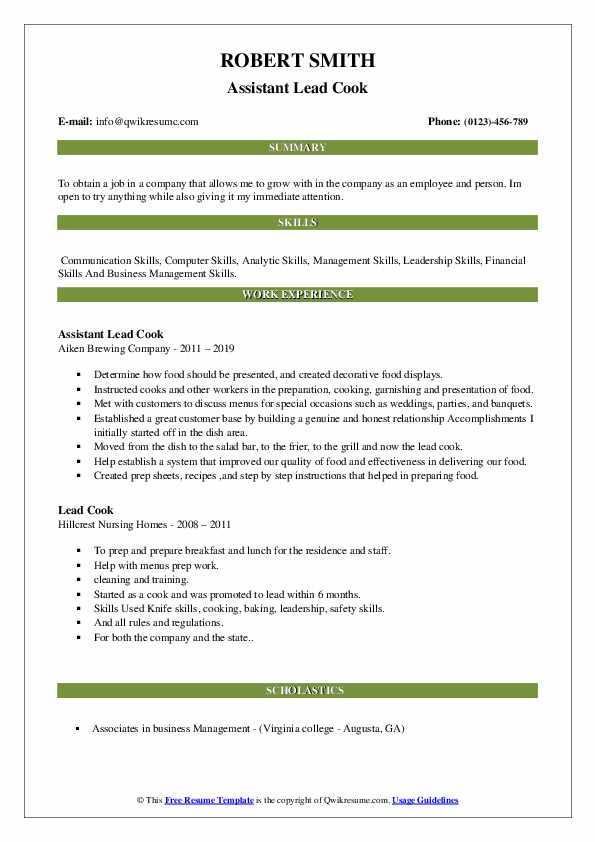 Assistant Lead Cook Resume Model