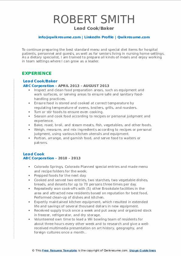Lead Cook/Baker Resume Example