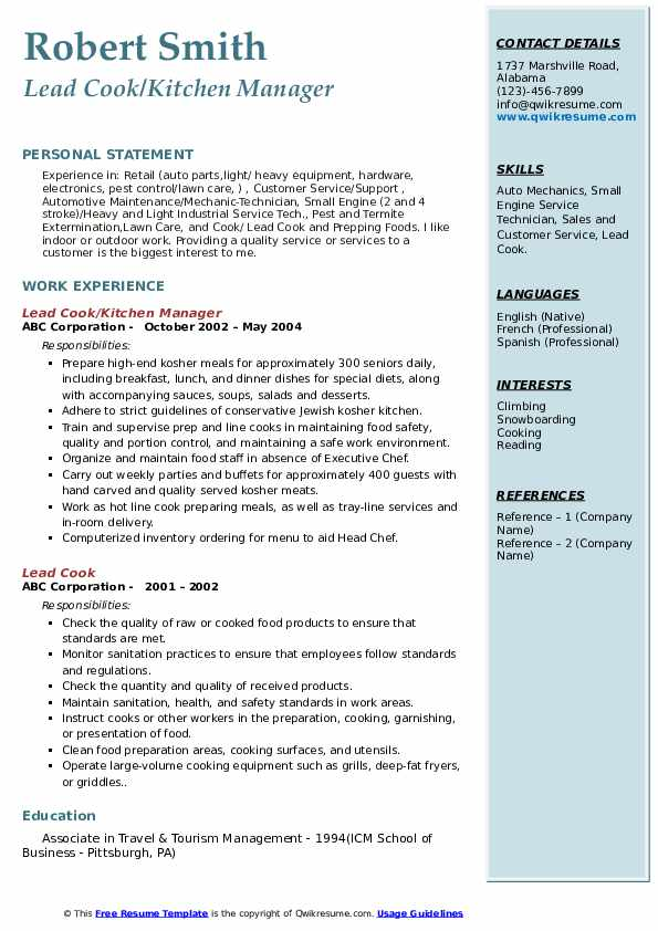 Lead Cook/Kitchen Manager Resume Template
