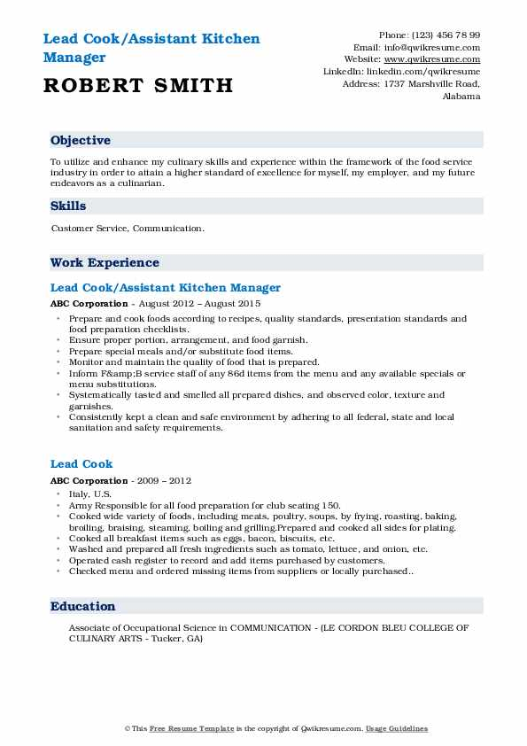 Lead Cook/Assistant Kitchen Manager Resume Template